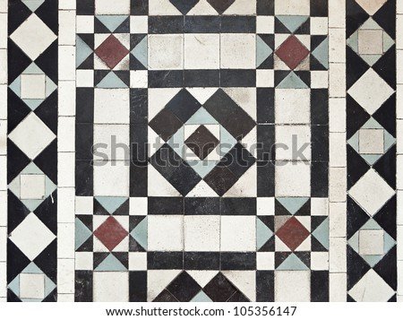 victorian style floor tile pattern with colorful elements - stock photo