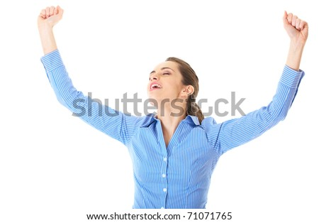 victorious businesswoman show her joy, isolated on white - stock photo