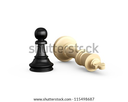 Victory, dark pawn defeats light king, isolated on white background. - stock photo