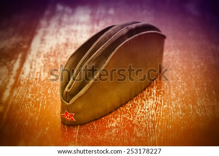Victory Day on May 9: Soviet garrison cap with a red star - stock photo