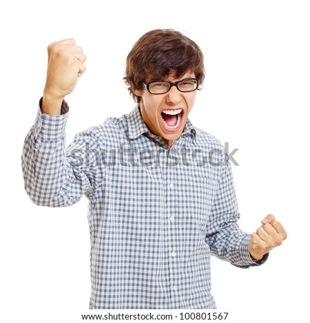Victory screaming young man in black glasses. Isolated on white background, mask included - stock photo