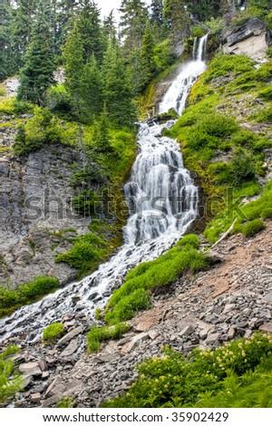 Vidae Falls in Crater Lake National Park - stock photo