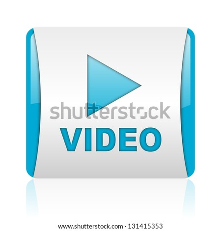 video blue and white square web glossy icon - stock photo