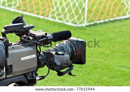 video camera back football goal - stock photo