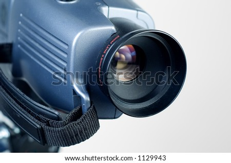 Video camera lens pointing to the right.1 - stock photo