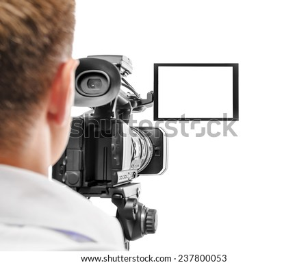 Video camera operator isolated on white background. Focus on screen. - stock photo