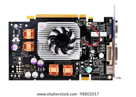 video card with three outputs on a white background - stock photo