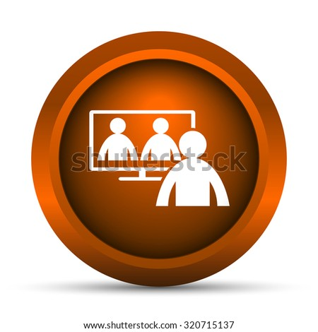 Video conference, online meeting icon. Internet button on white background.  - stock photo