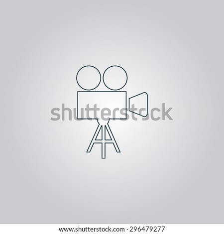 Video film camera. Flat web icon or sign isolated on grey background. Collection modern trend concept design style  illustration symbol - stock photo
