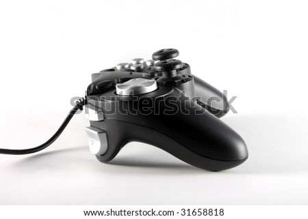 video game controller, isolated on white - stock photo
