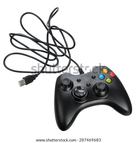 Video game controller, isolated on white background - stock photo