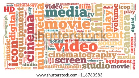 video info-text graphics and arrangement concept on white background (word cloud) - stock photo