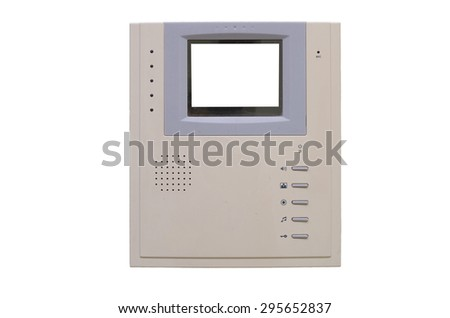 video intercom equipment on white background, include clipping path - stock photo