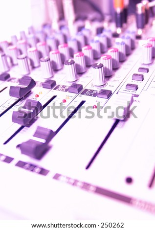 Video Mixing Desk Buttons, LED's and switches - stock photo