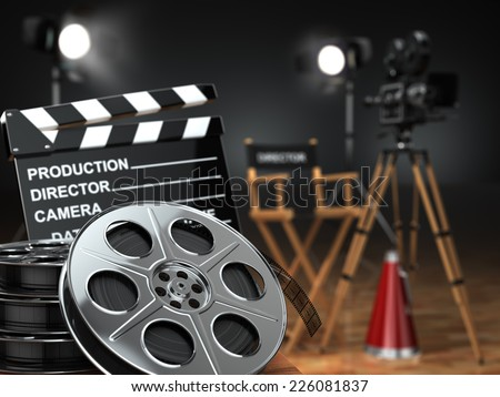 Video, movie, cinema concept. Retro camera, reels, clapperboard and director chair. 3d - stock photo