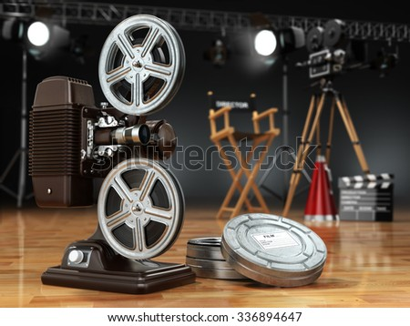Video, movie, cinema concept. Vintage projector, retro camera, reels, clapperboard and director chair. 3d - stock photo