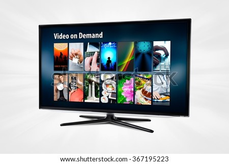 Video on demand VOD application or service on smart TV. - stock photo