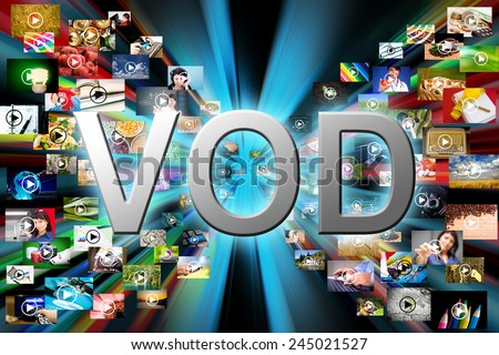 Video on demand VOD service on TV, abstract television concept. - stock photo
