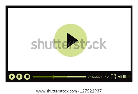 Video player for web illustration on white - stock photo