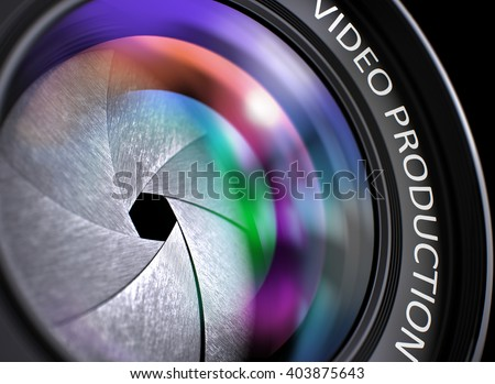 Video Production Written on a Lens of Camera. Closeup View, Selective Focus, Lens Flare Effect. Video Production Written on a SLR Camera Lens. 3D Illustration. - stock photo