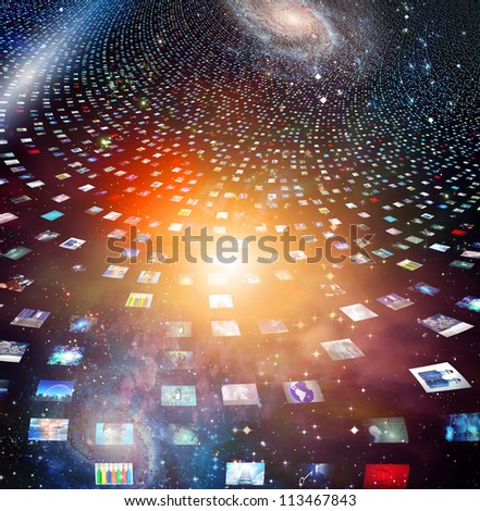 Video screens abstract created entirely of my own images and human figures were created by me with software and do not need model release - stock photo