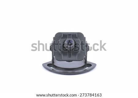 video surveillance camera. inside of a dome camera - stock photo