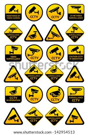 Video surveillance signs - Big yellow set. Rasterized versions (copy) - stock photo