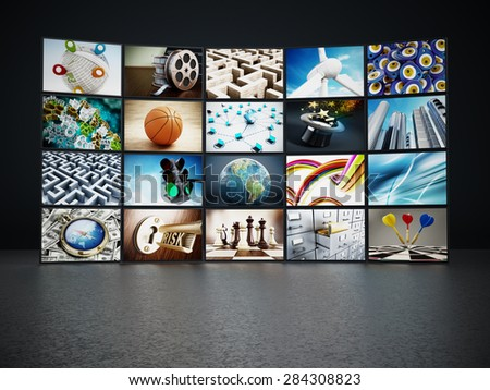 Video wall containing images from my portfolio. - stock photo