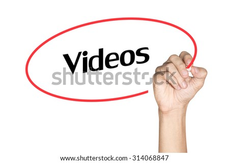 Videos Men arm writing text with highlighter pen on white background - stock photo