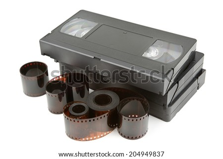 videotapes and film isolated on white background - stock photo