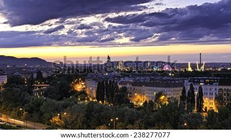 Vienna at the Danube Canal at dusk - stock photo
