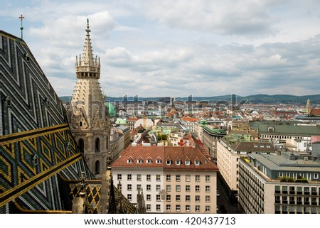 Vienna, Austria aerial landscape from St Stephens Cathedral - stock photo
