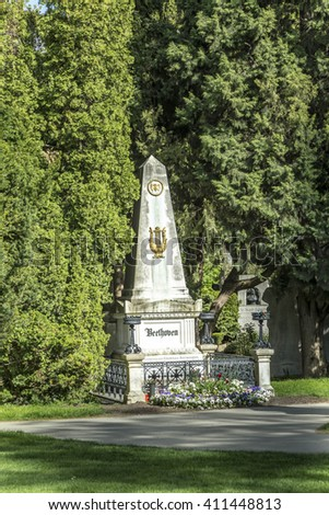 VIENNA, AUSTRIA - APR 26, 2015: view to  Vienna Central Cemetery and the grave of Ludwig van Beethoven. - stock photo