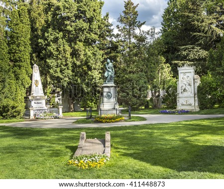 VIENNA, AUSTRIA - APR 26, 2015: view to  Vienna Central Cemetery, the place where famous austrian people are burried like Schubert and Beethaven. - stock photo