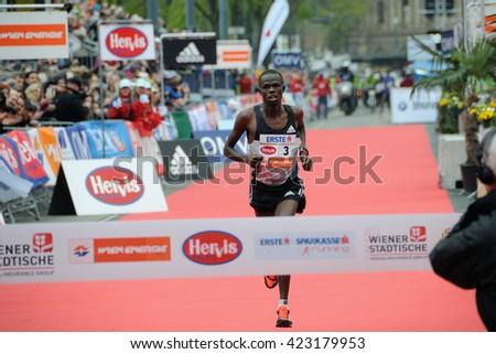 VIENNA, AUSTRIA - APRIL 10, 2016: Chemosin Robert wins the Vienna City Marathon , April 10, 2016 in Vienna, Austria. - stock photo