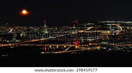 Vienna, Austria - April 5, 2015: shot over Vienna at night, April 5th, 2015 - stock photo