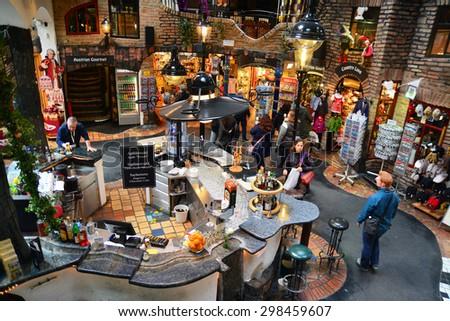 vienna, austria - april 6, 2015: tourist shops at the hundertwasser village, near the famous hundertwasserhaus in vienna, austria. shot taken on april 6th, 2015 - stock photo