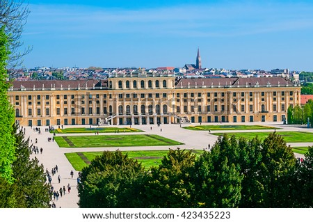 VIENNA, AUSTRIA - APRIL 23, 2016: View of the Schonbrunn Palace. Schonbrunn Palace is UNESCO World Heritage Site  - stock photo