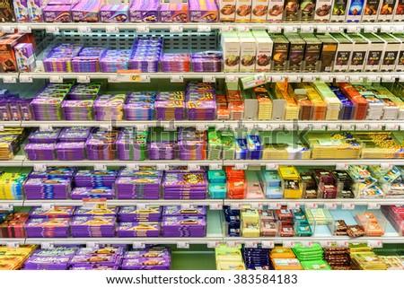 VIENNA, AUSTRIA - AUGUST 11, 2015: Chocolate Sweets For Sale On Supermarket Shelf. - stock photo