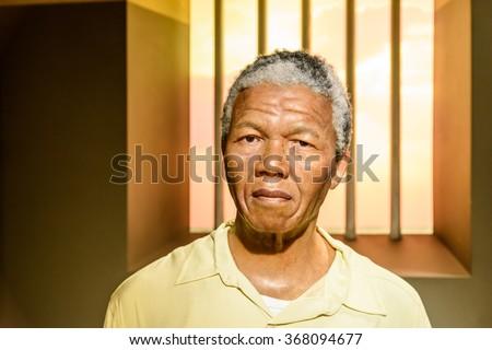 VIENNA, AUSTRIA - AUGUST 08, 2015: Nelson Mandela Figurine At Madame Tussauds Wax Museum. - stock photo