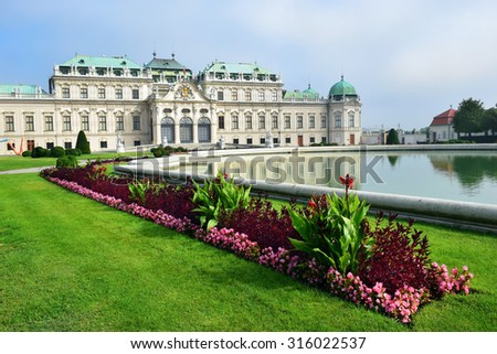 Vienna, Austria- 28 August, 2015 : park and baroque palace Upper Belvedere, Vienna   28 August in Vienna, Austria built by Johann Lukas von Hildebrandt as a summer residence for Prince Eugene of Savoy - stock photo