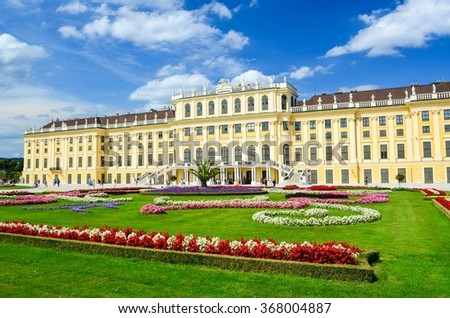 Vienna, Austria - AUGUST 15, 2011: Schonbrunn Palace, the Former Imperial Summer Residence of the Habsburg Emperors - stock photo