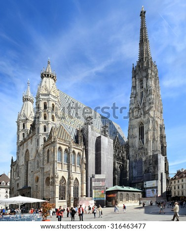 Vienna, Austria- 28 August, 2015 : St. Stephens Cathedral and Stephansplatz square on  28 August in Vienna, Austria, national symbol of Austria and symbol of the city of Vienna - stock photo
