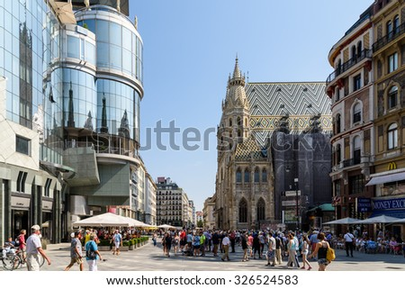 VIENNA, AUSTRIA - AUGUST 12, 2015: Stephansplatz is a square at the geographical centre of Vienna and is named after its most prominent building, the Stephansdom, Vienna's cathedral. - stock photo