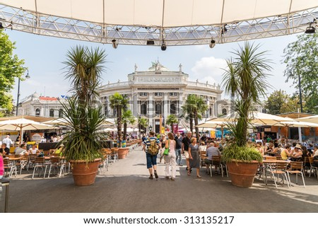 VIENNA, AUSTRIA - AUGUST 06, 2015: The Burgtheater (Imperial Court Theater) is the Austrian National Theatre in Vienna and one of the most important German language theatres in the world. - stock photo
