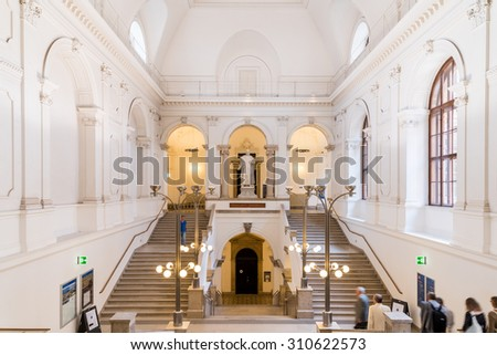 VIENNA, AUSTRIA - AUGUST 04, 2015: The University of Vienna (Universitat Wien) is a public university founded by Duke Rudolph IV in 1365 and is the oldest university in the German-speaking world. - stock photo