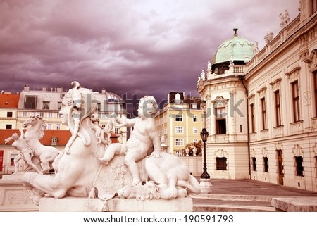 Vienna, Austria - Belvedere Palace building. The Old Town is a UNESCO World Heritage Site. Retro color style - cross processed colors tone. - stock photo