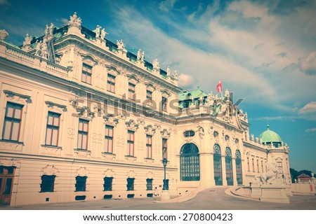 Vienna, Austria - Belvedere Palace building. The Old Town is a UNESCO World Heritage Site. Retro color style - cross processed filtered colors tone. - stock photo
