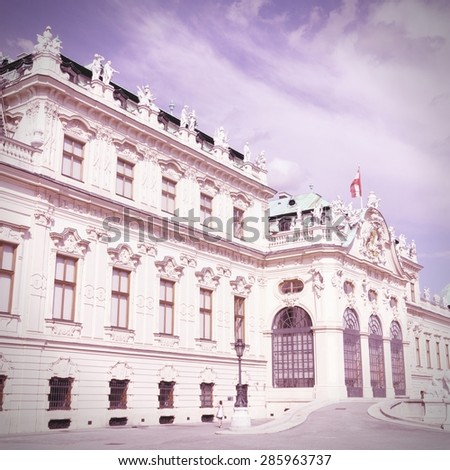 Vienna, Austria - Belvedere Palace. Vintage color style - cross processed filtered tone. - stock photo