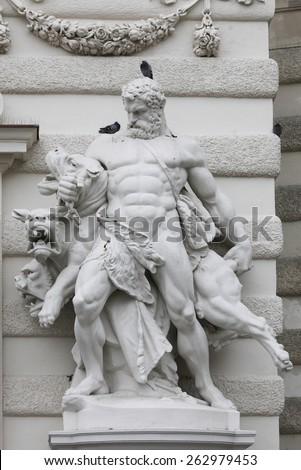 VIENNA, AUSTRIA - DECEMBER 10: Hercules and Cerberus, Hofburg in Vienna, Austria on December 10, 2011. - stock photo